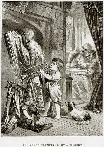 The Young Trumpeter. By A Siegert. Illustration from The National Magazine (Kent, 1860).