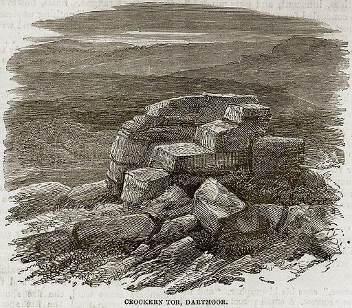Crockern Tor, Dartmoor. Illustration from The National Magazine (Kent, 1860).