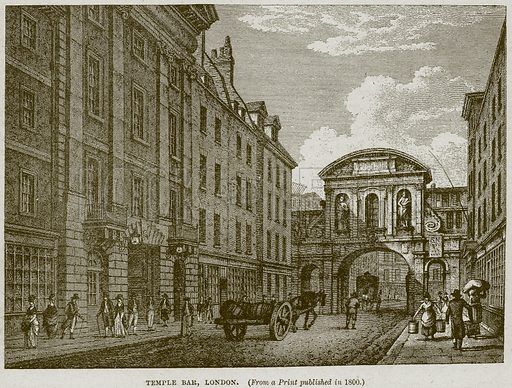 Temple Bar, London. Illustration from Cassell's History of England (special edition, AW Cowan, c 1890).