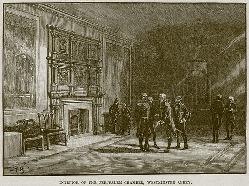 Interior of the Jerusalem Chamber, Westminster Abbey. Illustration from Cassell's History of England (special edition, AW Cowan, c 1890).