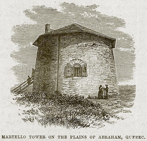 Martello Tower on the Plains of Abraham, Qufbec. Illustration from Cassell's History of England (special edition, AW Cowan, c 1890).