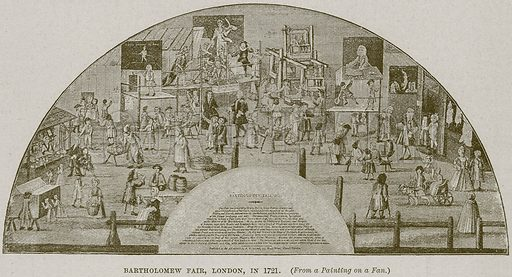 Bartholomew Fair, London, in 1721. Illustration from Cassell's History of England (special edition, AW Cowan, c 1890).