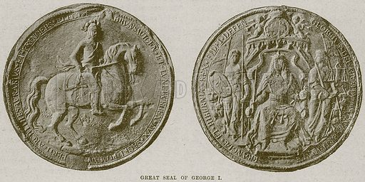 Great Seal of George I. Illustration from Cassell's History of England (special edition, AW Cowan, c 1890).