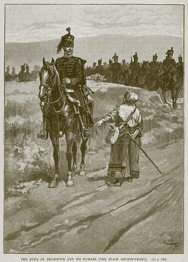 The Duke of Brunswick and his Hussars (The Black Brunswickers). Illustration from Cassell's History of England (special edition, AW Cowan, c 1890).