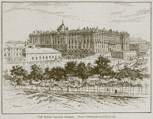 The Royal Palace, Madrid. Illustration from Cassell's History of England (special edition, AW Cowan, c 1890).