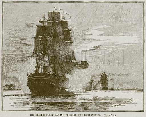 The British Fleet passing through the Dardanelles. Illustration from Cassell's History of England (special edition, AW Cowan, c 1890).