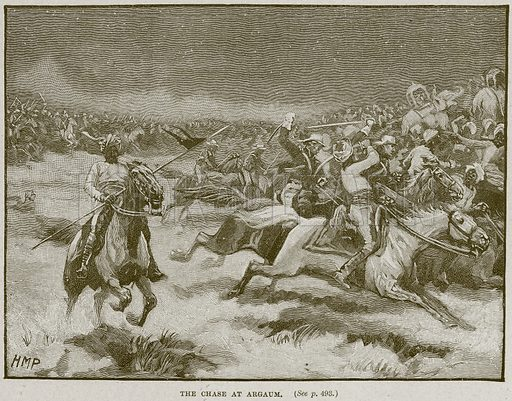 The Chase at Argaum. Illustration from Cassell's History of England (special edition, AW Cowan, c 1890).