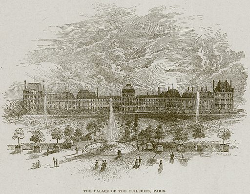 The Palace of the Tuileries, Paris. Illustration from Cassell's History of England (special edition, AW Cowan, c 1890).