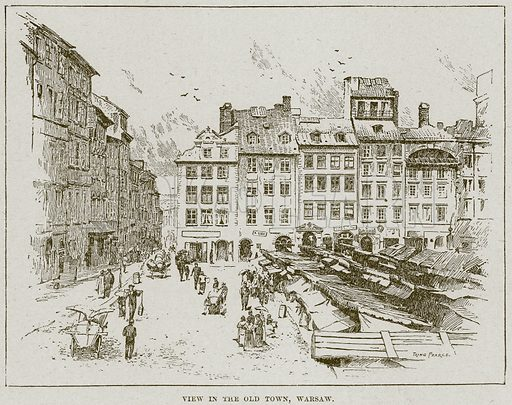 View in the Old Town, Warsaw. Illustration from Cassell's History of England (special edition, AW Cowan, c 1890).