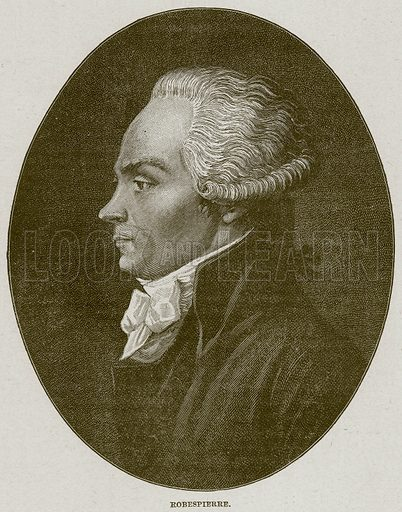 Robespierre. Illustration from Cassell's History of England (special edition, AW Cowan, c 1890).