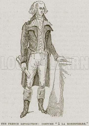 """The French Revolution: Costume """"A la Robespierre"""". Illustration from Cassell's History of England (special edition, AW Cowan, c 1890)."""