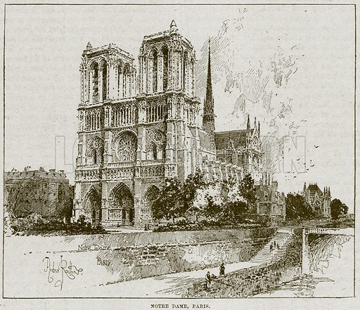 Notre Dame, Paris. Illustration from Cassell's History of England (special edition, A W Cowan, c 1890).