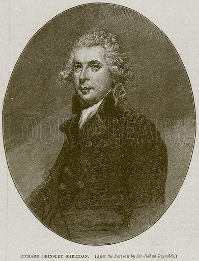 Richard Brinsley Sheridan. Illustration from Cassell's History of England (special edition, AW Cowan, c 1890).