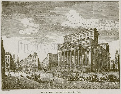The Mansion House, London, in 1760. Illustration from Cassell's History of England (special edition, AW Cowan, c 1890).