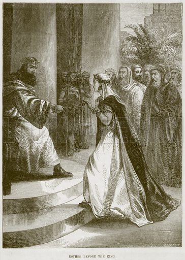 Esther before the King. Illustration from The Child's Bible (Cassell, c 1880).