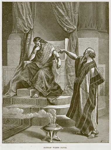 Nathan Warns David. Illustration from The Child's Bible (Cassell, c 1880).