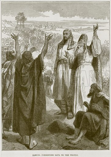 Samuel presenting Saul to the People. Illustration from The Child's Bible (Cassell, c 1880).