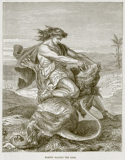 Samson slaying the Lion. Illustration from The Child's Bible (Cassell, c 1880).