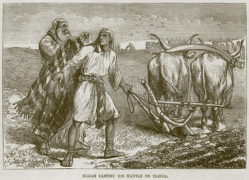 Elijah casting his Mantle on Elisha. Illustration from The Child's Bible (Cassell, c 1880).