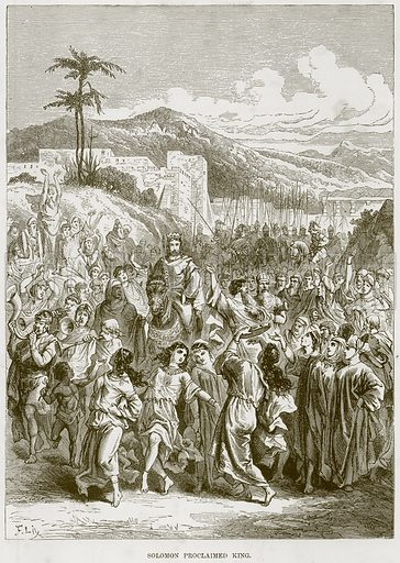 Solomon proclaimed King. Illustration from The Child's Bible (Cassell, c 1880).