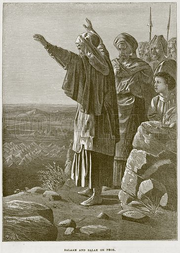 Balaam and Balak on Peor. Illustration from The Child's Bible (Cassell, c 1880).