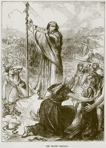 The Brazen Serpent. Illustration from The Child's Bible (Cassell, c 1880).