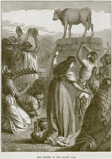 The Worship of the Golden Calf. Illustration from The Child's Bible (Cassell, c 1880).