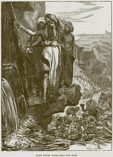 Moses brings Water from the Rock. Illustration from The Child's Bible (Cassell, c 1880).