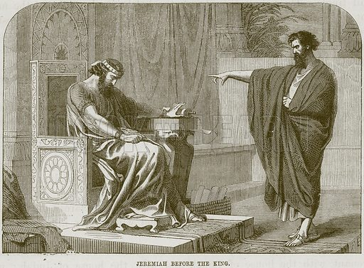 Jeremiah before the King. Illustration from The Child's Bible (Cassell, c 1880).