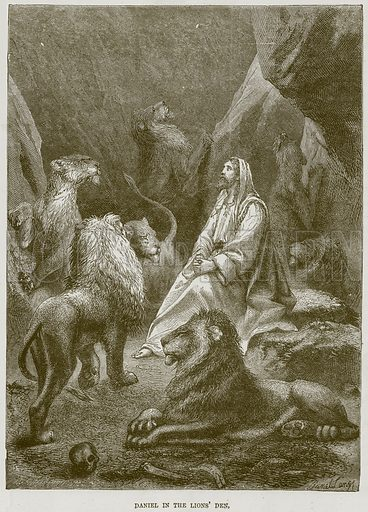 Daniel in the Lions' Den. Illustration from The Child's Bible (Cassell, c 1880).