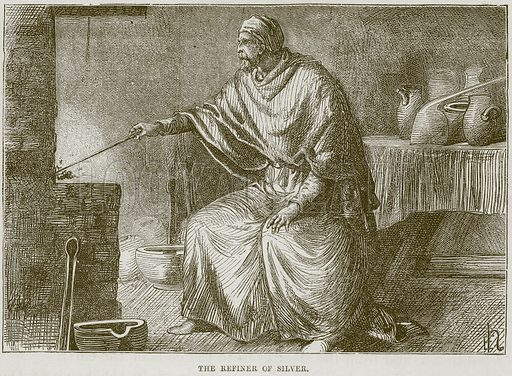 The Refiner of Silver. Illustration from The Child's Bible (Cassell, c 1880).