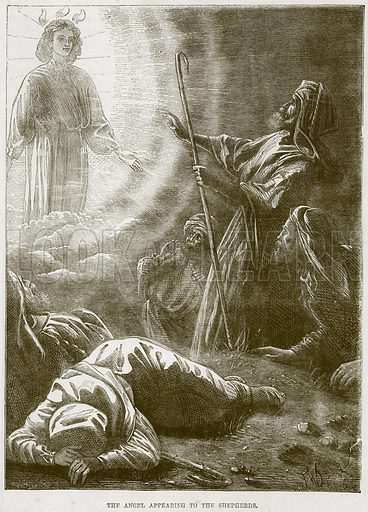 The Angel appearing to the Shepherds. Illustration from The Child's Bible (Cassell, c 1880).