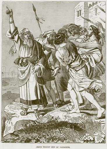 Jesus Thrust Out of Nazareth. Illustration from The Child's Bible (Cassell, c 1880).