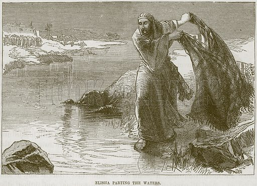 Elisha parting the Waters. Illustration from The Child's Bible (Cassell, c 1880).