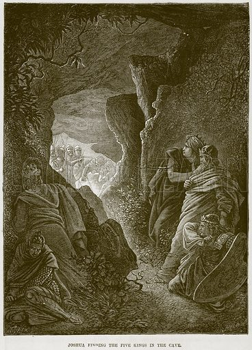 Joshua finding the Five Kings in the Cave. Illustration from The Child's Bible (Cassell, c 1880).