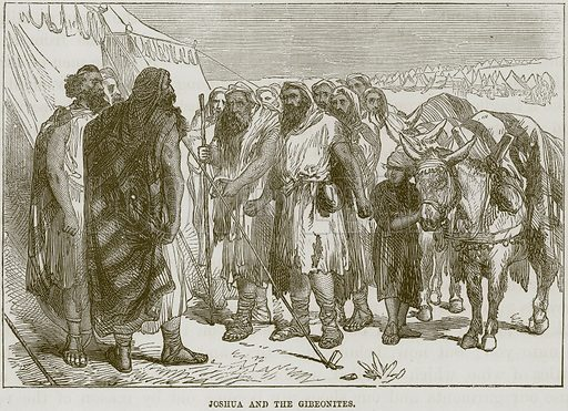 Joshua and the Gibeonites. Illustration from The Child's Bible (Cassell, c 1880).