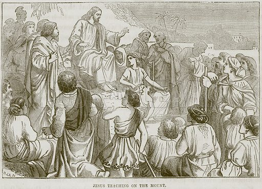 Jesus teaching on the Mount. Illustration from The Child's Bible (Cassell, c 1880).