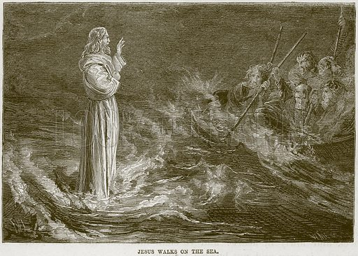 Jesus Walks on the Sea. Illustration from The Child's Bible (Cassell, c 1880).