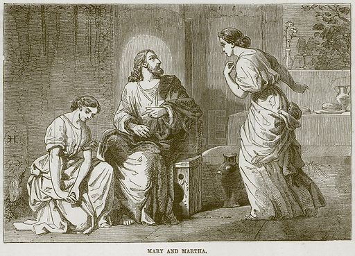 Mary and Martha. Illustration from The Child's Bible (Cassell, c 1880).