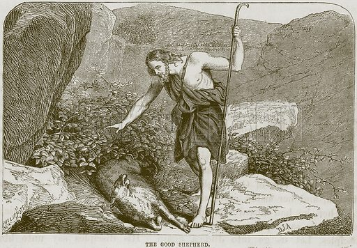 The Good Shepherd. Illustration from The Child's Bible (Cassell, c 1880).