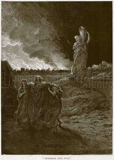 """""""Remember Lot's Wife."""" Illustration from The Child's Bible (Cassell, c 1880)."""