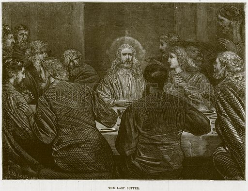The Last Supper. Illustration from The Child's Bible (Cassell, c 1880).
