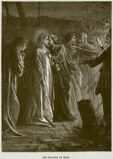 The Betrayal of Jesus. Illustration from The Child's Bible (Cassell, c 1880).