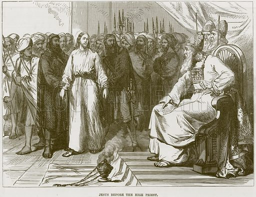 Jesus before the High Priest. Illustration from The Child's Bible (Cassell, c 1880).