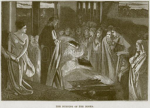 The burning of the Books. Illustration from The Child's Bible (Cassell, c 1880).