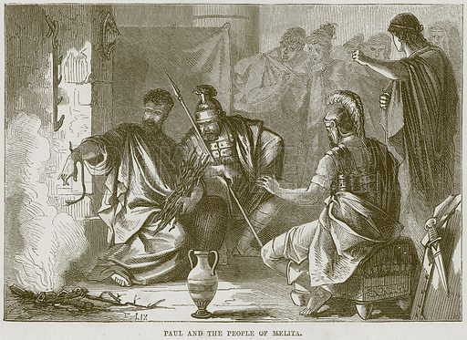 Paul and the People of Melita. Illustration from The Child's Bible (Cassell, c 1880).
