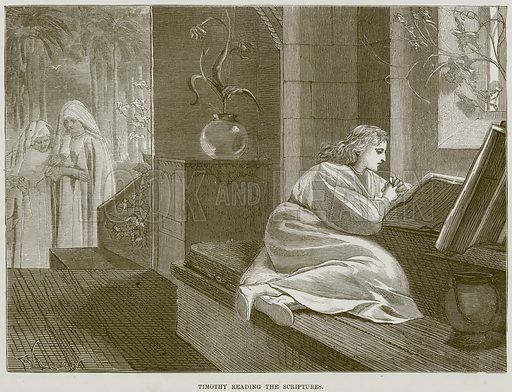 Timothy reading the Scriptures. Illustration from The Child's Bible (Cassell, c 1880).