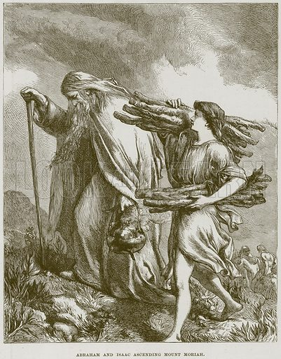 Abraham and Isaac ascending Mount Moriah. Illustration from The Child's Bible (Cassell, c 1880).
