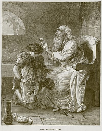 Isaac blessing Jacob. Illustration from The Child's Bible (Cassell, c 1880).