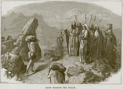 Jacob rearing the Pillar. Illustration from The Child's Bible (Cassell, c 1880).